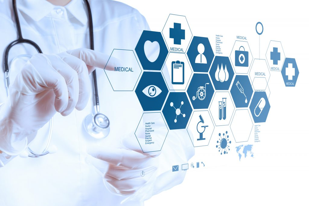 Bismart Big Data Business Intelligence Medicine doctor hand working with modern computer interface