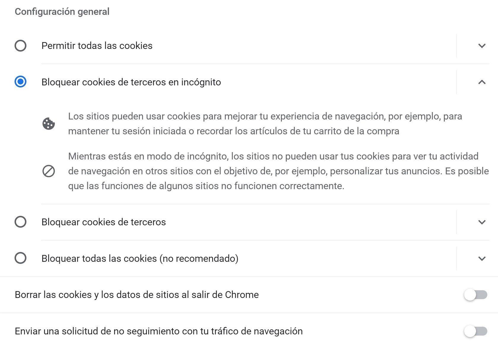 cookies chrome privacidad y seguridad cookies de terceros